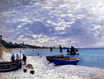 Claude Oscar Monet : The Beach At Sainte-Adresse